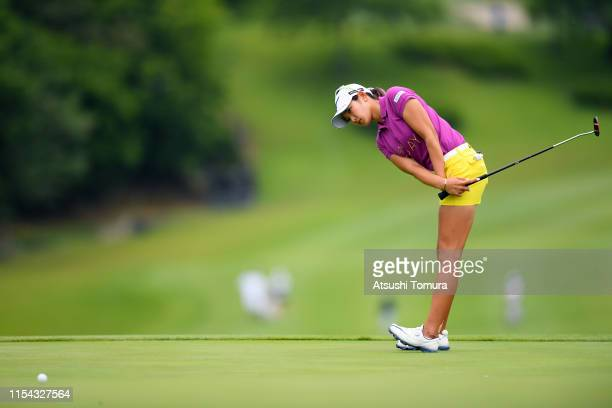 Erika Hara of Japan attempts a putt on the 18th green during the first round of the Yonex Ladies Golf Tournament at Yonex Country Club on June 7 2019...
