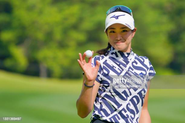 Erika Hara of Japan celebrates the birdie on the 14th green during the second round of Rakuten Super Ladies at Tokyu Grand Oak Golf Club on July 30,...