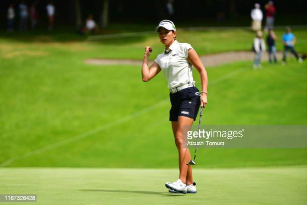 Erika Hara of Japan celebrates the birdie on the 15th greenduring the final round of the Hokkaido meiji Cup at Sapporo International Country Club on...