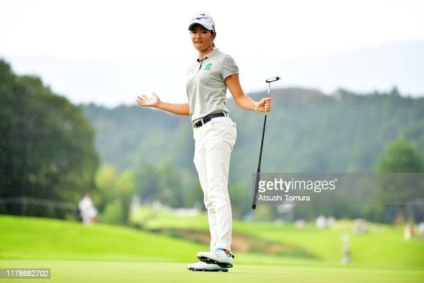 Erika Hara of Japan celebrates the birdie on the 17th green during the first round of the Japan Women's Open Championship at Cocopa Resort Club...