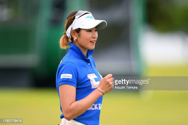 Erika Hara of Japan celebrates the birdie on the 18th green during the first round of the Resorttrust Ladies at Grandi Hamanako Golf Club on May 31...