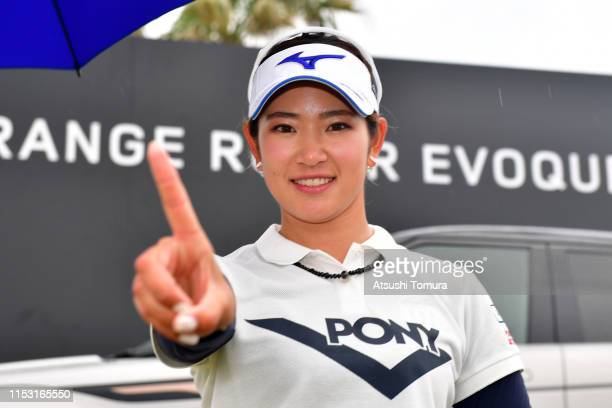 Erika Hara of Japan celebrates winning the tournament after the final round of the Resorttrust Ladies at Grandi Hamanako Golf Club on June 2 2019 in...
