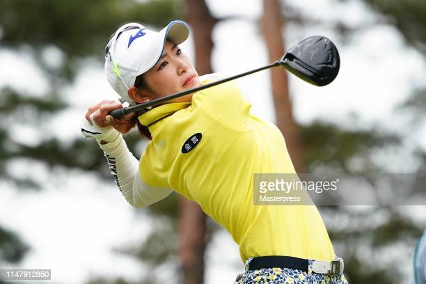 Erika Hara of Japan hits a tee shot on the 12th hole during the first round of the World Ladies Championship Salonpas Cup at Ibaraki Golf Club...