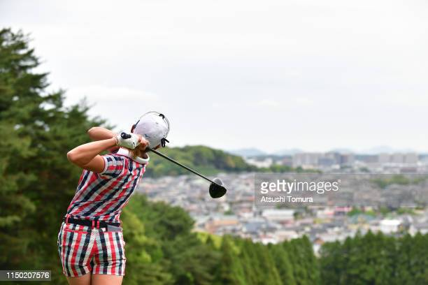 Erika Hara of Japan hits a tee shot on the 3rd hole during the final round of the HokennoMadoguchi Ladies at Fukuoka Country Club Wajiro Course on...