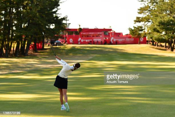 Erika Hara of Japan hits her second shot on the 18th hole during the final round of the JLPGA Tour Championship Ricoh Cup at the Miyazaki Country...