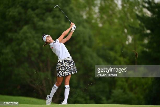 Erika Hara of Japan hits her second shot on the 9th hole during the final round of the Japan Women's Open Golf Championship at the Classic Golf Club...