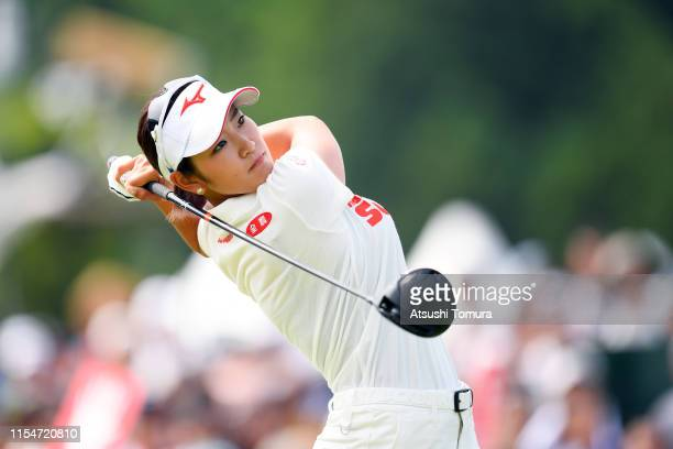 Erika Hara of Japan hits her tee shot on the 10th hole during the final round of the Yonex Ladies Golf Tournament at Yonex Country Club on June 9...