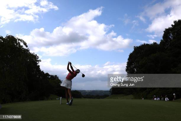 Erika Hara of Japan hits her tee shot on the 14th hole during the second round of the 52nd LPGA Championship Konica Minolta Cup at the Cherry Hills...