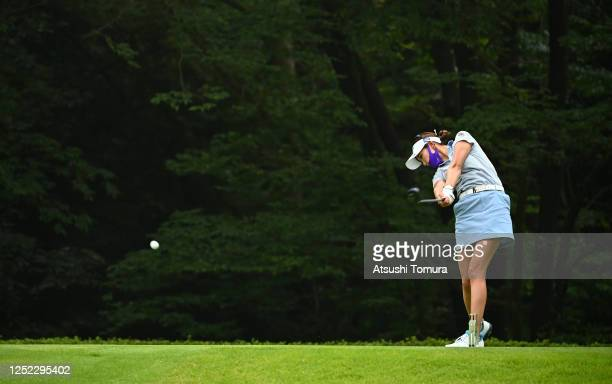 Erika Hara of Japan hits her tee shot on the 14th hole during the first round of the Earth Mondamin Cup at the Camellia Hills Country Club on June...