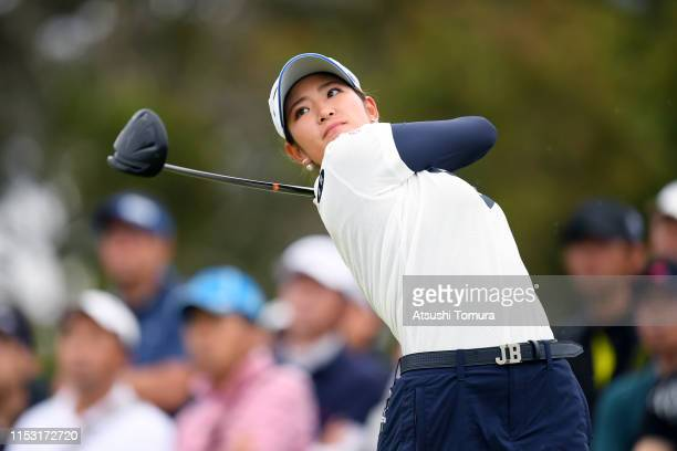 Erika Hara of Japan hits her tee shot on the 16th hole during the final round of the Resorttrust Ladies at Grandi Hamanako Golf Club on June 2 2019...