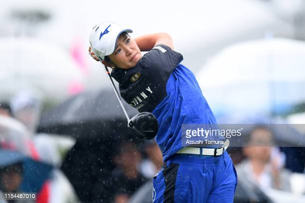 Erika Hara of Japan hits her tee shot on the 1st hole during the second round of the Yonex Ladies Golf Tournament at Yonex Country Club on June 8...