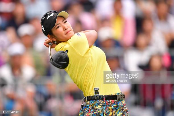 Erika Hara of Japan hits her tee shot on the 1st hole during the second round of the Descente Ladies Tokai Classic at Shin Minami Aichi Country Club...