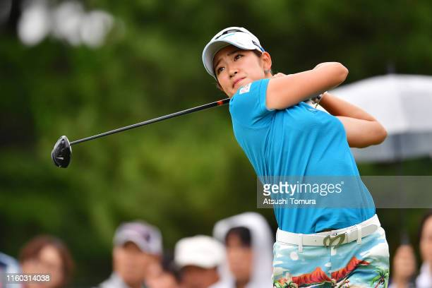 Erika Hara of Japan hits her tee shot on the 4th hole during the third round of the Shiseido Anessa Ladies Open at Totsuka Country Club on July 6...