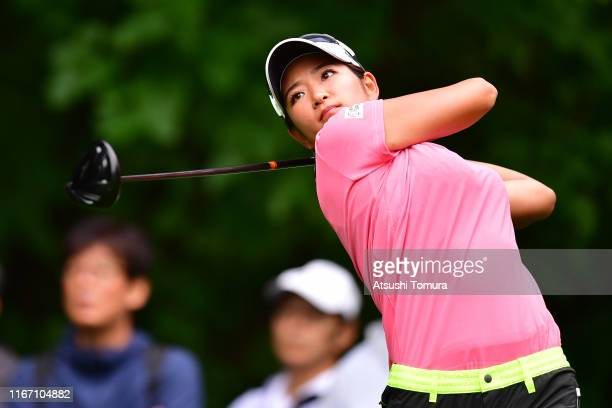 Erika Hara of Japan hits her tee shot on the 4th hole during the second round of the Hokkaido meiji Cup at Sapporo International Country Club on...