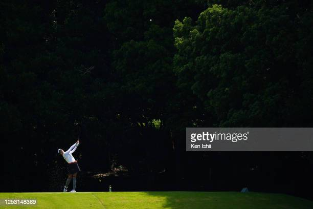 Erika Hara of Japan hits her tee shot on the 4th hole during the final round of the Earth Mondamin Cup at the Camellia Hills Country Club on June 29,...