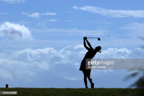 Erika Hara of Japan hits her tee shot on the 5th hole during the first round of the Stanley Ladies at Tomei Country Club on October 8, 2021 in...