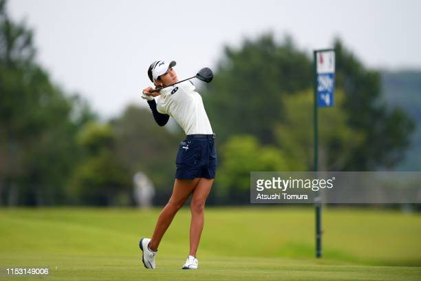 Erika Hara of Japan hits her tee shot on the 8th hole during the final round of the Resorttrust Ladies at Grandi Hamanako Golf Club on June 2 2019 in...