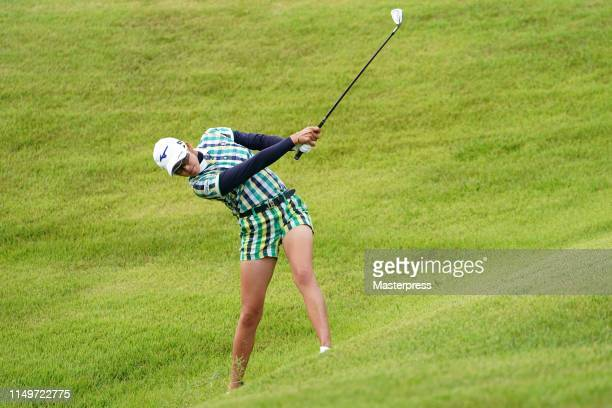 Erika Hara of Japan hits her third shot on the 15th hole during the first round of the HokennoMadoguchi Ladies at Fukuoka Country Club Wajiro Course...