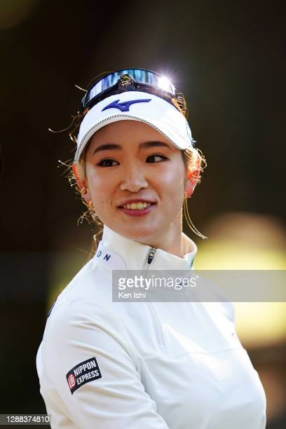 Erika Hara of Japan is seen on the 18th hole during the final round of the JLPGA Tour Championship Ricoh Cup at the Miyazaki Country Club on November...