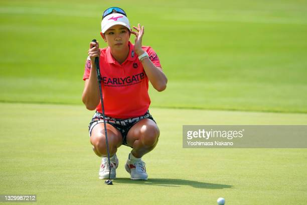 Erika Hara of Japan lines up a putt on the 7th green during the first round of Daito Kentaku eHeyanet Ladies at Takino Country Club on July 22, 2021...
