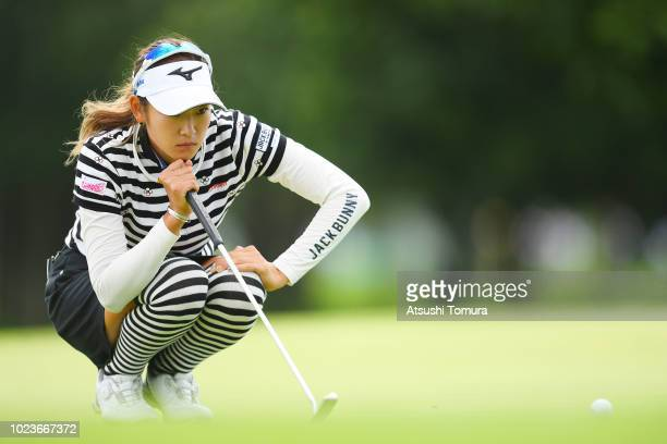 Erika Hara of Japan lines up her putt on the 18th hole during the final round of the Nitori Ladies at Otaru Country Club on August 26 2018 in Otaru...
