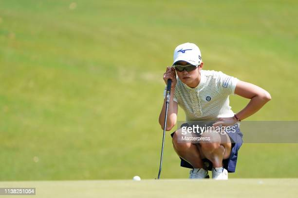 Erika Hara of Japan lines up on the 8th green during the second round of the KKT Cup Vantelin Ladies Open at Kumamoto Kuko Country Club on April 20...