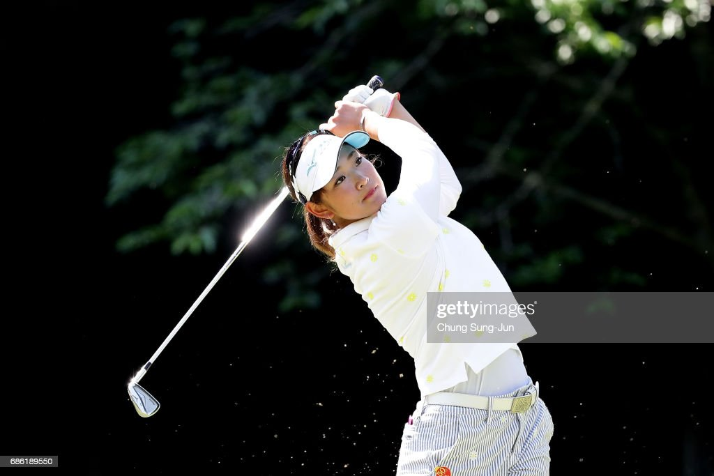 Erika Hara of Japan plays a tee shot on the 5th hole during the final round of the Chukyo Television Bridgestone Ladies Open at the Chukyo Golf Club Ishino Course on May 21, 2017 in Toyota, Japan.