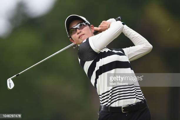 Erika Hara of Japan plays her second shot on the 5th hole during the second round of the Stanley Ladies at Tomei Country Club on October 6 2018 in...