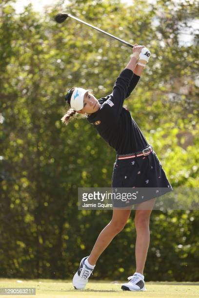 Erika Hara of Japan plays her shot from the 12th tee during the first round of the 75th U.S. Women's Open Championship at Champions Golf Club...