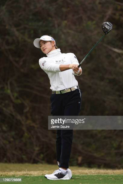 Erika Hara of Japan plays her shot from the first tee during the second round of the 75th U.S. Women's Open Championship at Champions Golf Club...
