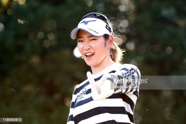 Erika Hara of Japan poses after hitting her tee shot on the 2nd hole during the third round of the LPGA Tour Championship Ricoh Cup at Miyazaki...