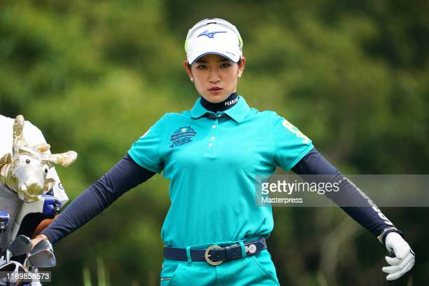 Erika Hara of Japan poses on the 12th tee during the second round of the CAT Ladies 2019 at Daihakone Country Club on August 24, 2019 in Hakone,...