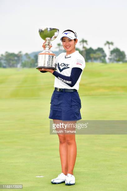 Erika Hara of Japan poses with the trophy after the award ceremony following the final round of the Resorttrust Ladies at Grandi Hamanako Golf Club...