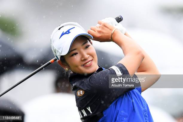 Erika Hara of Japan prepares for her tee shot on the 1st hole during the second round of the Yonex Ladies Golf Tournament at Yonex Country Club on...