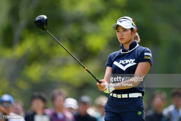 Erika Hara of Japan prepares for her tee shot on the 2nd hole during the final round of the Ai Miyazato Suntory Ladies Open Golf Tournament at Rokko...