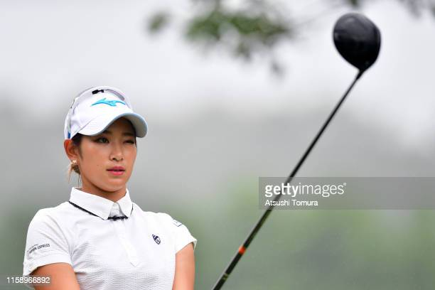 Erika Hara of Japan prepares for her tee shot on the 3rd hole during the third round of the Earth Mondamin Cup at the Camellia Hills Country Club on...