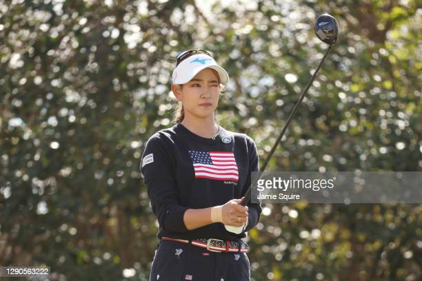 Erika Hara of Japan prepares to play her shot from the 12th tee during the first round of the 75th U.S. Women's Open Championship at Champions Golf...