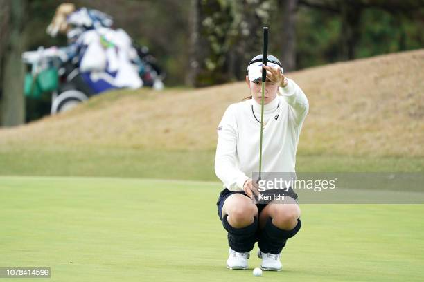 Erika Hara of Japan prepares to putt on the 9th green during the final round of the LPGA Rookies Championship Kaga Electronics Cup at the Great...