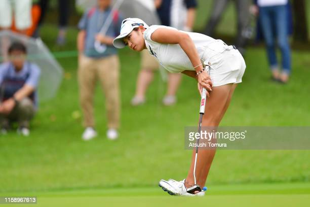 Erika Hara of Japan reacts after a putt on the 5th green during the third round of the Earth Mondamin Cup at the Camellia Hills Country Club on June...