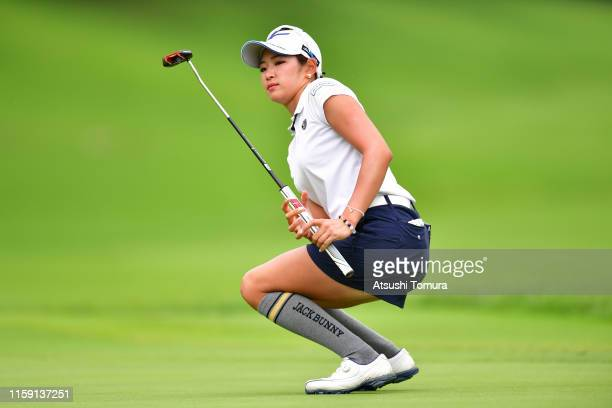 Erika Hara of Japan reacts after missing her par putt on the 16th green during the final round of the Earth Mondamin Cup at the Camellia Hills...