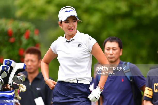 Erika Hara of Japan smiles after her tee shot on the 3rd hole during the final round of the Earth Mondamin Cup at the Camellia Hills Country Club on...