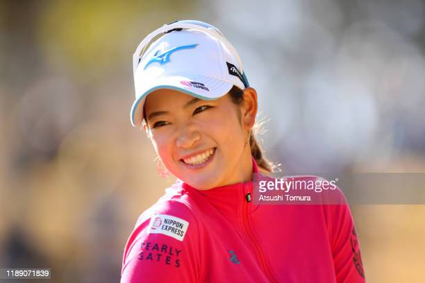Erika Hara of Japan smiles after holing out on the 9th green during the first round of the Daio Paper Elleair Ladies at Elleair Golf Club Matsuyama...