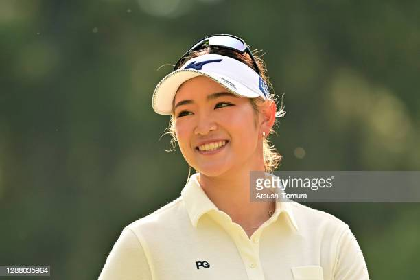 Erika Hara of Japan smiles on the 14th hole during the second round of the JLPGA Tour Championship Ricoh Cup at the Miyazaki Country Club on November...