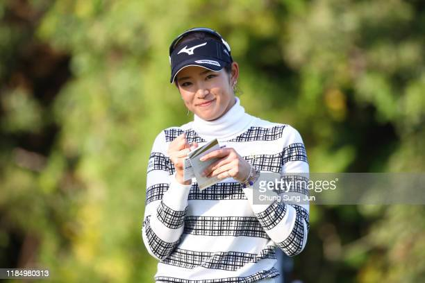 Erika Hara of Japan smiles on the 17th green during the second round of the Hisako Higuchi Mitsubishi Electric Ladies at Musashigaoka Golf Course on...