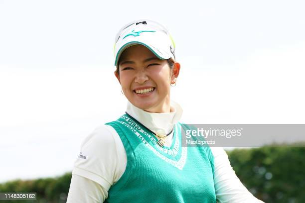 Erika Hara of Japan smiles on the 4th hole during the third round of the World Ladies Championship Salonpas Cup at Ibaraki Golf Club Higashi Course...