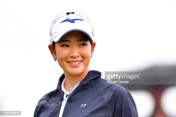 Erika Hara of Japan smiles prior to her tee shot on the 1st hole during the final round of the Shiseido Anessa Ladies Open at Totsuka Country Club on...