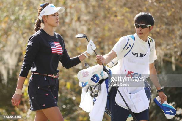 Erika Hara of Japan walks off the 12th tee during the first round of the 75th U.S. Women's Open Championship at Champions Golf Club Jackrabbit Course...