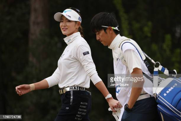 Erika Hara of Japan walks off the first tee during the second round of the 75th U.S. Women's Open Championship at Champions Golf Club Cypress Creek...