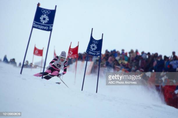 Erika Hess competing in the Women's giant slalom event at the 1984 Winter Olympics / XIV Olympic Winter Games, Jahorina.