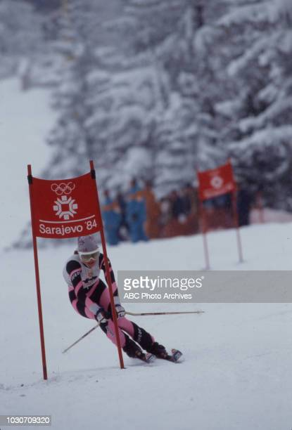 Erika Hess competing in the Women's giant slalom skiing event at the 1984 Winter Olympics / XIV Olympic Winter Games, Jahorina.